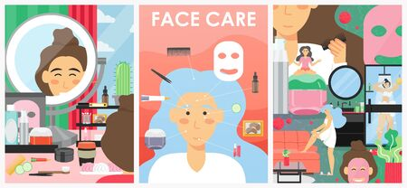 Skin care and beauty vector poster banner template set Illusztráció