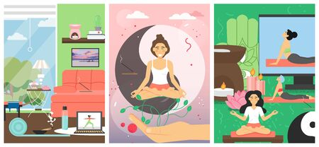 Yoga classes for women, vector poster template set