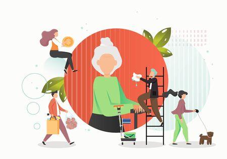 Caring for elderly concept vector flat illustration