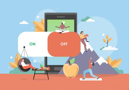 Digital detox concept vector flat style design illustration