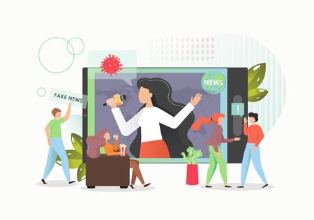 Online fake news concept vector flat illustration