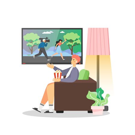 Policy news, vector flat illustration. Man watching television daily news program while sitting in armchair and eating popcorn. The latest and breaking news on policy, live report.