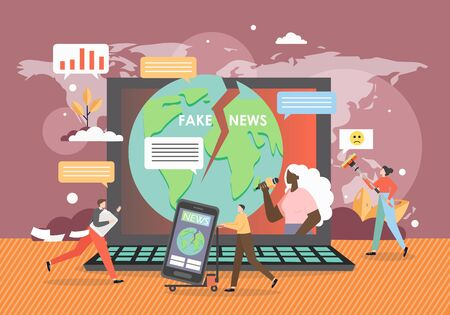 Online fake news concept flat vector illustration. Tiny people and huge laptop computer with cracked planet Earth globe, journalist with mic on screen. Online news media, disinformation, propaganda.