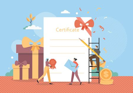 Tiny male and female characters preparing certificate for delivery to award winner, customer, vector flat illustration. Gift certificate concept for poster, banner etc. Illustration