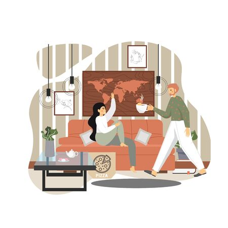Happy family couple taking rest at home, vector flat illustration. Attentive husband giving cup of tea to her wife sitting on sofa in living room. Positive family relationship concept.