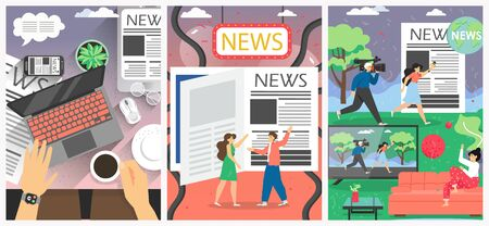 News media vector poster banner template set. People reading print newspaper, online news, watching TV news. Print, broadcast and internet, main types of mass media. Flat style design illustration.