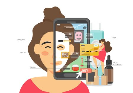 Makeup and cosmetics online store, vector flat illustration. Woman making purchases of face sheet mask, cream, eye patches, mascara, facial massager. Skin care and beauty products online, e-commerce.