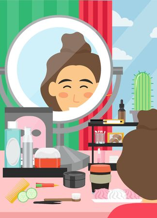 Face beauty and makeup vector poster banner template. Young woman sitting at table with cosmetic skin care products and huge mirror. Makeup classes, beauty parlor services, face care routine.