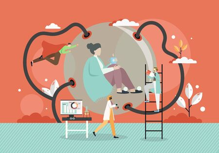 Tiny doctors wearing face masks rushing to help sick woman sitting inside of round sphere with cup of tea, vector flat illustration. Medical help and care for sick patient, fight against corona virus.