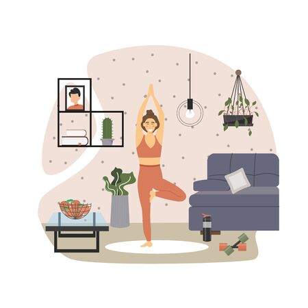 Young woman practicing yoga at home, vector flat illustration. Sport and healthy lifestyle, yoga home practice, fitness training, sport activity. Vectores
