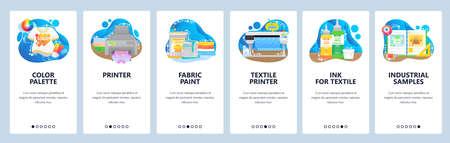 Print shop equipment supplies. T-shirt, textile printer, color palette samples for printing. Mobile app screens. Vector banner template for website and mobile development. Web site design illustration