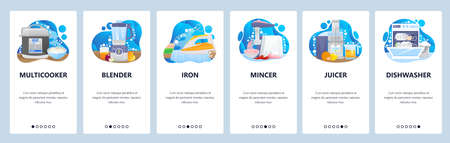 Home appliances and kitchen electronics. Iron multicooker blender other cooking appliances. Mobile app screens. banner template for website and mobile development. Web site design illustration.