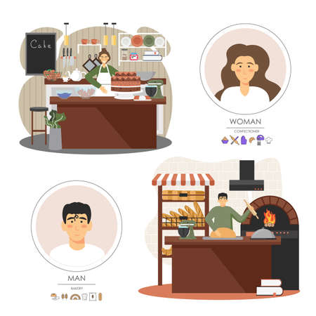 Bakery shop workers man and woman baking bread, selling sweet desserts, vector flat illustration Ilustración de vector