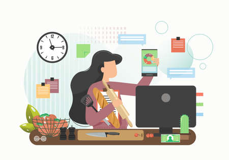Business woman cooking and working in kitchen, vector flat illustration