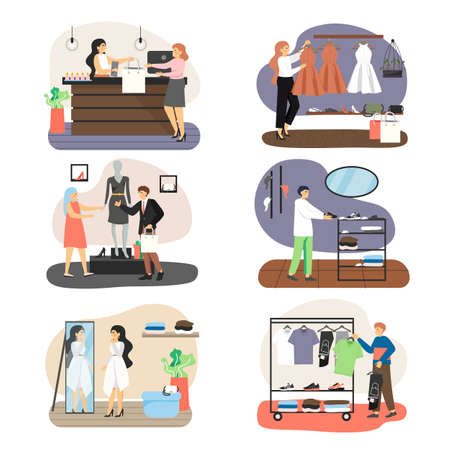 Retail clothing store set, vector flat illustration. Men and women shopping for clothes and shoes in fashion boutiques.