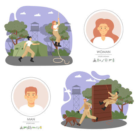 Army soldiers male and female characters climbing rope, obstacle, running, training dog, flat vector illustration Stock Illustratie