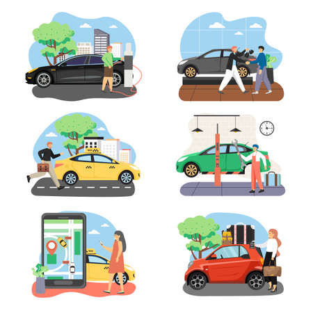 People and cars in their life composition set, flat vector isolated illustration