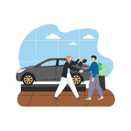 Car showroom with new car and two male characters auto dealer and buyer, flat vector illustration. Ilustración de vector