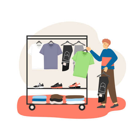 Male character choosing t-shirt and jeans in mens clothing store, flat vector illustration. Vektorové ilustrace