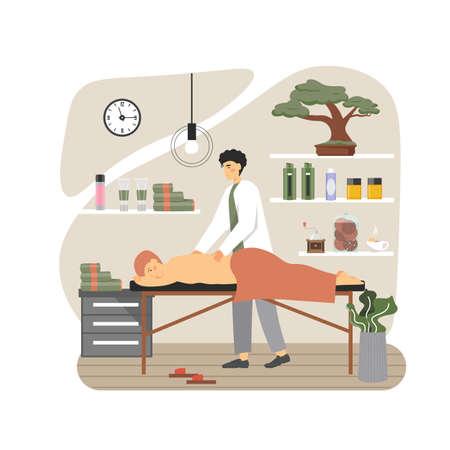 Massage therapist, masseur giving back massage to man lying on table, flat vector illustration 向量圖像