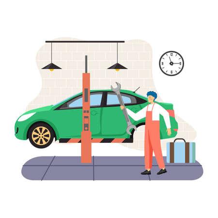 Car service and tire maintenance, change, auto repair shop, garage, vector flat illustration