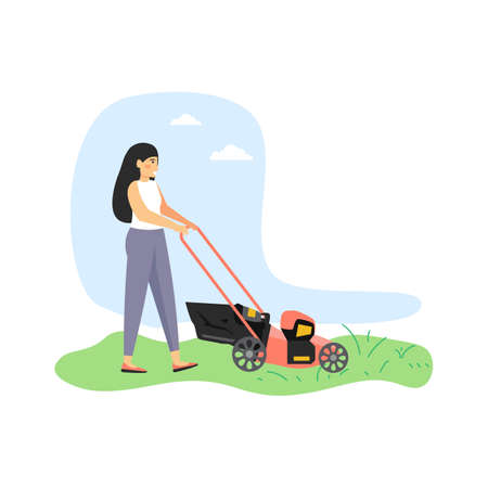 Young woman, gardener cutting grass with lawn mower, flat vector illustration Vektorové ilustrace