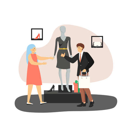 Young man buying gift black dress for his girlfriend in woman clothing store, flat vector illustration