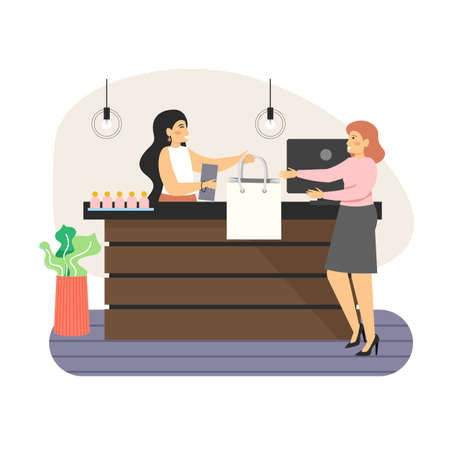 Retail store counter. Happy woman shopping in fashion store, flat vector illustration