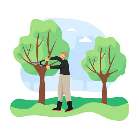 Young man, gardener pruning tree by cutting away dead branches with pruner, flat vector illustration
