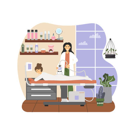 Massage therapist, female giving anti cellulite lpg treatment massage to woman lying on table, flat vector illustration