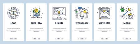 Graphic designer workspace.  creation, core brand idea, sketching. Mobile app screens vector website banner template Иллюстрация