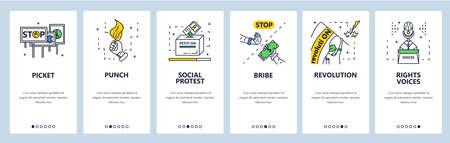 Social protest, revolution, demonstration, picket, political meeting. Mobile app screens, vector website banner template Иллюстрация