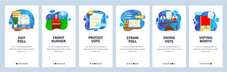 Elections and voting process. Exit poll, straw poll, voting booth. Mobile app screens, vector website banner template.