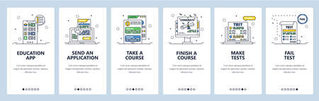 Online courses and tests, e-learning, distance education, online school. Mobile app onboarding screens. Vector banner template for website and mobile development. Web site design illustration.