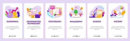 Study economics, IT, psychology, philosophy, history. Mobile app screens, vector website banner template. Ilustracja