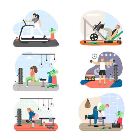 Fitness gym set, flat vector illustration. Leg press, lunges, deadlift, triceps, biceps dumbbell workout.