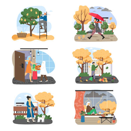 Autumn season set, flat vector illustration. Fall weather. People walking in park, harvesting, trick or treating.