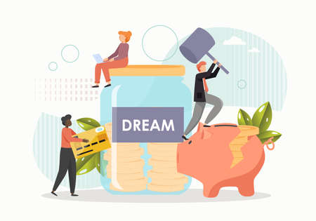 Giant glass jar, piggy bank with gold coins, tiny people collecting money to fulfill the dream, flat vector illustration 向量圖像