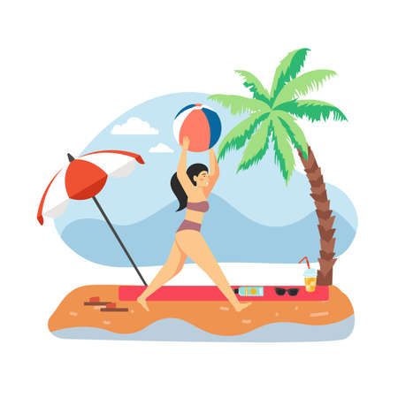 Young girl playing with ball on beach, flat vector illustration. Summer travel, tropical vacation. Illustration