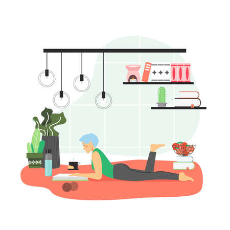 Girl enjoying free time with reading book at home, flat vector illustration. Hobbies and leisure activity, education. Illustration