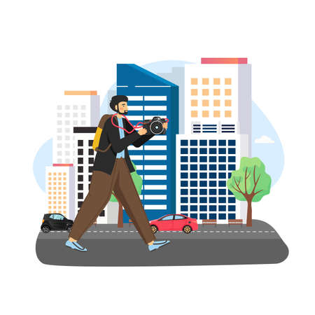 Tourist male character traveling around the city with camera, flat vector illustration.