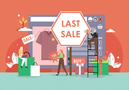Last sale in retail online store, flat vector illustration. Vettoriali