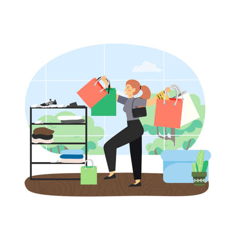 Happy girl with bunch of shopping bags in fashion boutique, flat vector illustration. Vettoriali