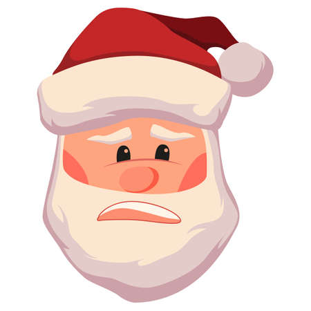 Unpleasantly surprised and upset santa claus face vector illustration. Christmas santa claus head icon isolated on white background. Cute cartoon character 일러스트