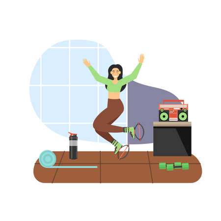 Sport and fitness activities. Young woman doing aerobic exercises, flat vector illustration. jumps training.