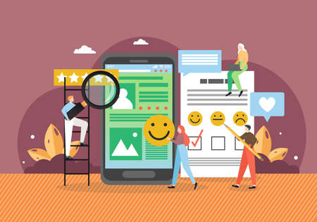 Business people collecting stars, using smile faces in survey questions flat vector illustration. Customer review rating