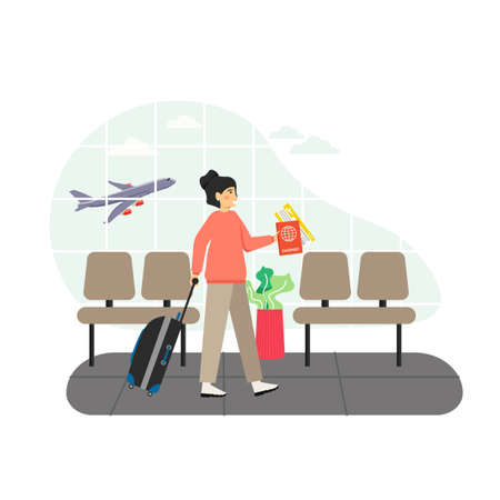 Airport waiting hall. Girl passenger with luggage, passport and ticket waiting for flight, flat vector illustration.