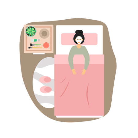8 March, Womens Day. Happy woman enjoying day off, visiting cosmetologist, spa, beauty salon, flat vector illustration.