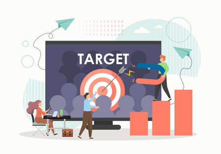 Businessman attracting potential customers with magnet, flat vector illustration. Targeting, digital marketing campaign.
