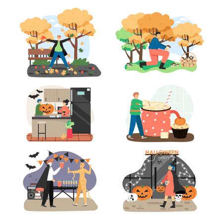 Autumn season holidays and outdoor activities concepts. Vector illustration set of halloween party, marshmallow drink cup, autumn activities